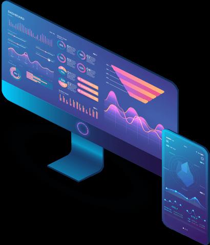 Isometrischer Bildschirm und Handy mit Daten und Tabellen