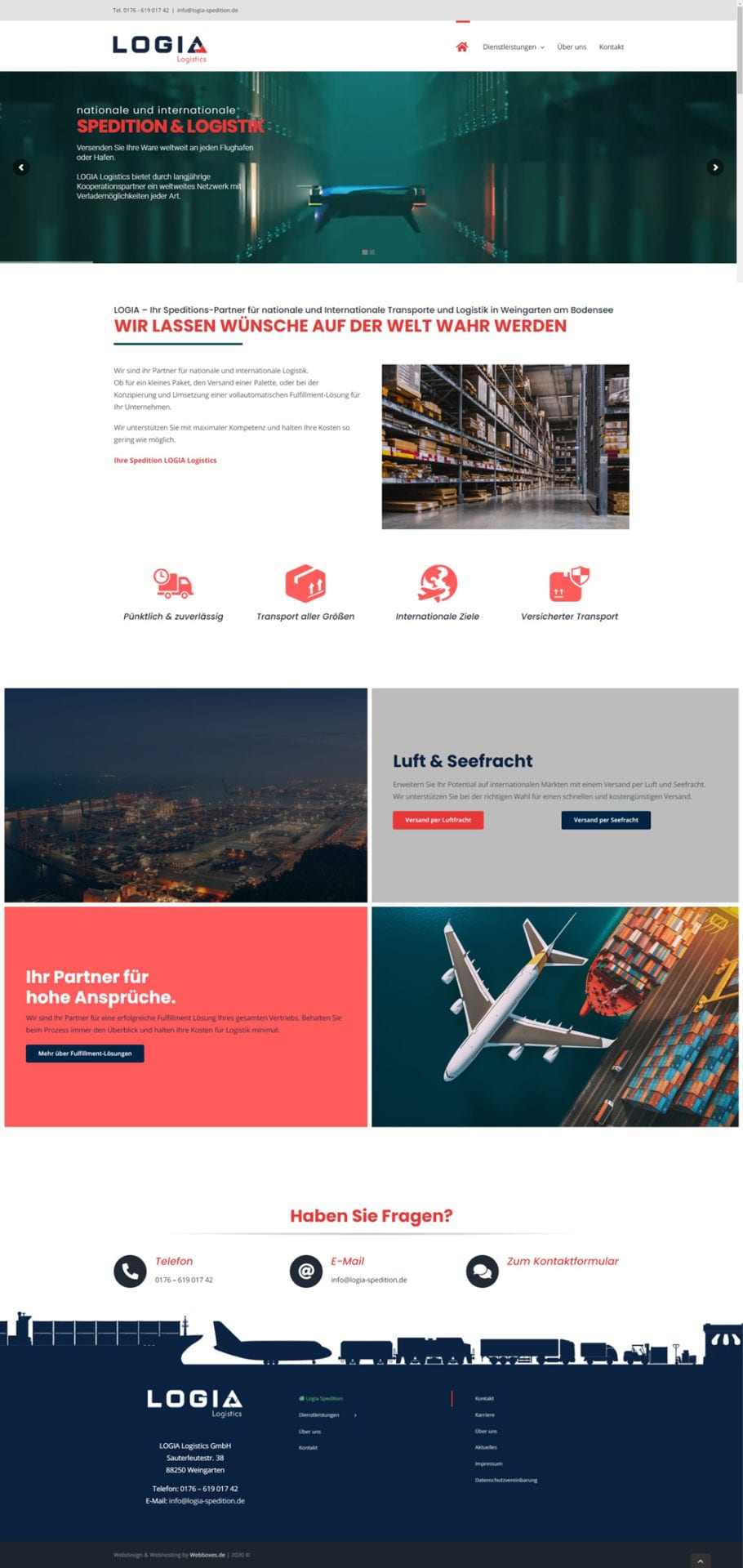 Logia Logistics Website Screenshot
